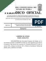 Publican en el Periódico Oficial eliminación del fuero en Puebla
