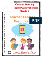 Reading Comprehension Critical Thinking grade 1