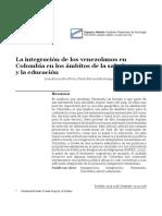 La integración de los venezolanos en Colombia en los ámbitos de la salud y la educación