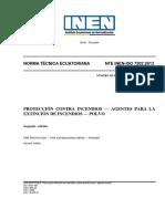 NTE INEN - ISO 7202 PROTECCIÓN CONTRA INCENDIOS AGENTES PARA LA EXTINCIÓN DE INCENDIOS POLVO.pdf