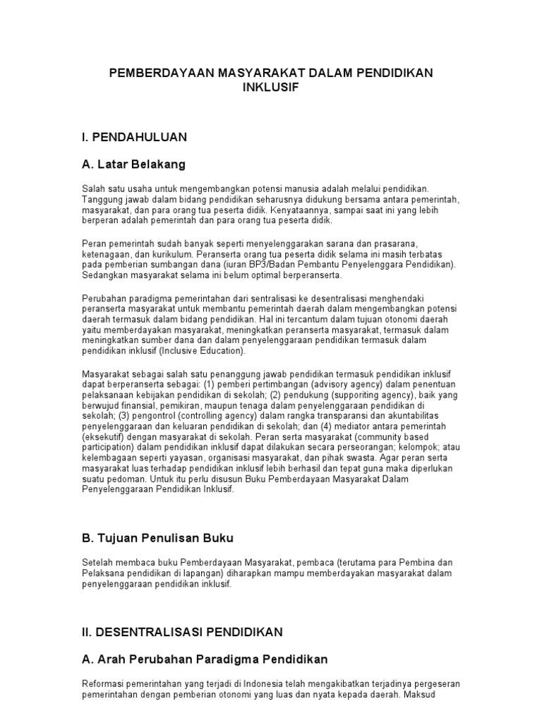 Makalah Pendidikan Inklusi Di Indonesia