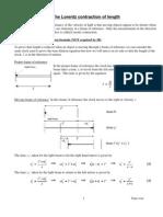 lorentz contraction notes