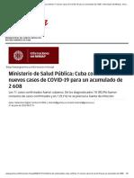 Ministerio de Salud Pública_ Cuba confirma 11 nuevos casos de COVID-19 para un acumulado de 2 608 › Información del Minsap › Granma - Órgano oficial del PCC