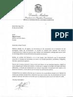 Carta de felicitación del presidente Danilo Medina con motivo del 131 aniversario del periódico Listín Diario