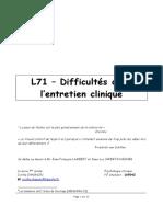 L71 - Techniques de l'entretien psychologique
