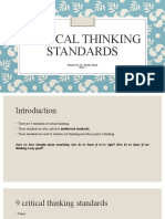Critical Thinking Standards- Week 7