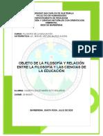 OBJETO DE LA FILOSOFÍA Y RELACIÓN ENTRE LA FILOSOFÍA Y LAS CIENCIAS DE LA EDUCACIÓN