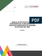 MANUAL DE POLÍTICAS PARA LA SUPERVISION DEL CUMPLIMIENTO DE SERVICIOS SUBROGADOS