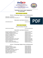 LIST OF ACADEMIC EXCELLENCCE AWARDEES SY 20220