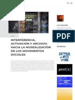 INTERFERENCIA, ACTIVACIÓN Y ARCHIVO_ HACIA LA MUSEALIZACIÓN DE LOS MOVIMIENTOS SOCIALES _ Artishock Revista
