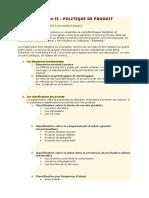 Chapitre II - POLITIQUE DE PRODUIT