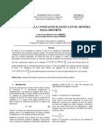 CALCULO DE LA CONSTANTE ELÁSTICA EN EL SISTEMA MASA-RESORTE