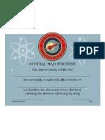 Mad Scientist Club Certificate
