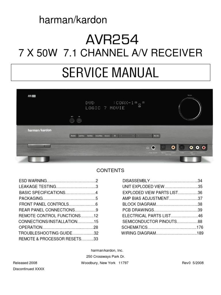 Harman  Kardon Avr 254 Service Manual