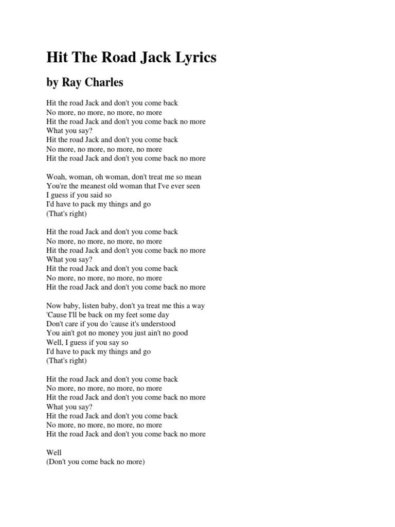 Hit The Road Jack Lyrics And Chords