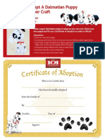 Adopt A Dalmation Puppy Paper Craft
