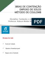 FUNDAÇÕES - AULA 23 - EMPUXO DE SOLOS - METODO COULUMB