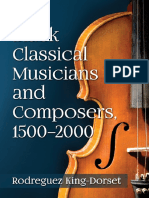 Black Classical Musicians and Composers, 1500-2000