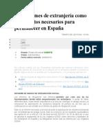 Los informes de extranjería como documentos necesarios para permanecer en España