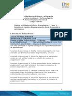 Guia de actividades y Rúbrica de evaluación - Tarea 4 - Solución de modelos de programación lineal de decisión y optimización.pdf