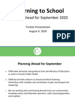 TDSB plan for returning to school in September 2020