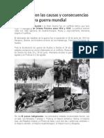 Cuáles fueron las causas y consecuencias de la primera guerra mundial