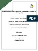 4.2 FACTORES INTERNO Y EXTERNOS DE LA PRODUCCION
