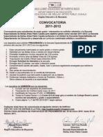 Convocatoria para admisión a la Escuela Especializada de Bellas Artes Pablo Casals. Año escolar 2011-2012