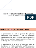 Lec 8 Formulation of  questionnaire