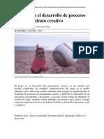 El juego en el desarrollo de procesos del pensamiento creativo - copia