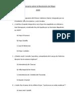 Cuestionario sobre la Revolución de Mayo - 2020