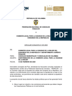 CIRCULAR COMISIÓN DE LA MUJER  Y FENACON (2020) firmas
