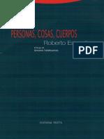 Roberto Espósito - Personas, cosas, cuerpos