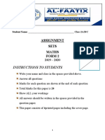ASSIGNMENT MATHS FORM TWO