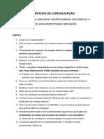 EXERCÍCIOS DE CONSOLIDAÇÃO - Unidade Tematica I