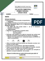 Evaluación Bimestral Sociales 11º 1p