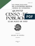 Quinto Censo de Población. 15 de Mayo de 1930. Estado de Sonora