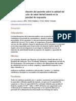 Análisis de satisfacción del paciente sobre la calidad