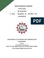 ADVANCED ANALOG IC DESIGN Lab Manual