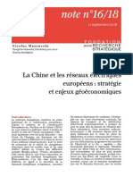 La Chine et les réseaux électriques européens et strategie et enjeux geoeconomiques