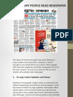 TOP REASONS WHY PEOPLE READ NEWSPAPER