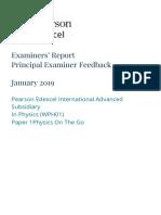 Edexcel IAL Physics Unit 1 - January 2019 - Examiner Report (Old Spec)