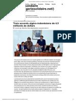 Trois accords algéro-indonésiens de 4,5 milliards de dollars – Algérie solidaire