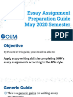 Essay Assignment Preparation Guide  May 2020 Semester