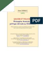 Savoir Et Pouvoir Philosphie Thomiste
