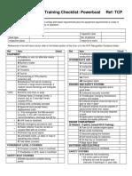 Training Checklist Powerboat