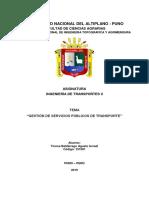 TRABAJO GESTION DE TRANSPORTE