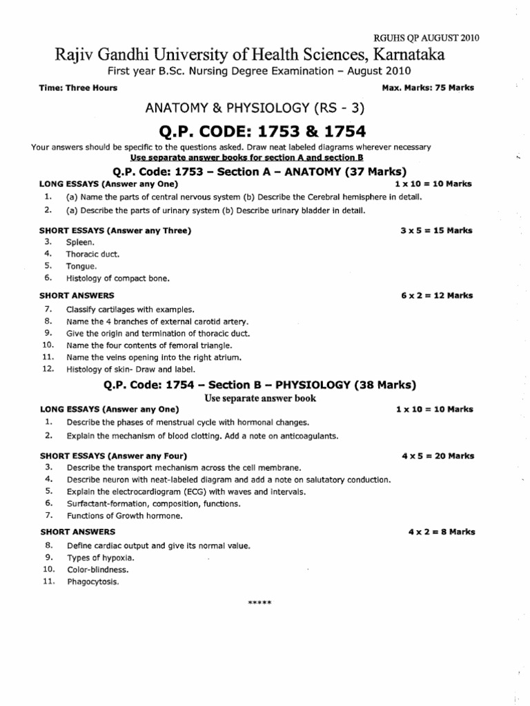 First year B.Sc. Nursing Question Paper2010 | Nutrition | Infection