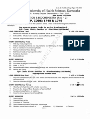 First year B Sc  Nursing Question Paper 2010 | Common