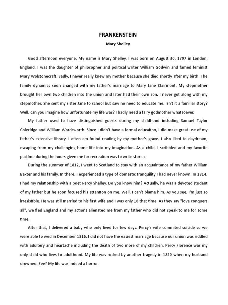 Frankenstein Monologue Frankenstein Mary Shelley